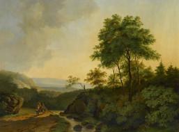рисованное, живопись, пейзаж, холст, картина, горы, гарца, cornelis, francois, roos