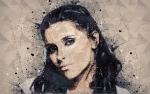 nelly furtado, рисованное, люди, нелли, фуртадо, творческий, портрет, лицо, канадская, певица, геометрическое, искусство, цветной, ретро, стиль