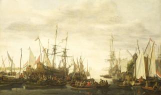 рисованное, живопись, корабль, лодка, протаскивание, под, килем, корабельного, хирурга, парус, ливе, питерсзон, версхюр, картина