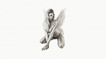 рисованное, комиксы, девушка, фон, взгляд, крылья