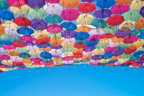 разное, сумки,  кошельки,  зонты, фон, зонты, небо
