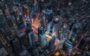 города, нью-йорк , сша, панорама, город, небоскребы, здания, дома