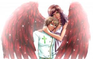 девушка, мужчина, фон, крылья
