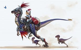 динозаврики, детская, Riding, мышка, динозавр, рыцарь, бабочка