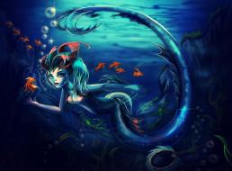 взгляд, фон, девушка, рыбки, существо