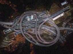 перекресток, деревья, шоссе, дорога, япония, лес, тоннель, карта, вид с высоты птичьего полета