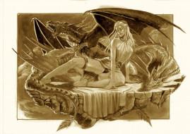 фон, драконы, девушка