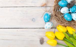 Пасха, Easter, wood, decoration, тюльпаны, tulips, tender, yellow, Happy, spring, eggs