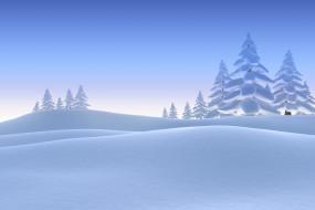 Сугробы, Зима, Снег, Деревья, Рендеринг, Ель