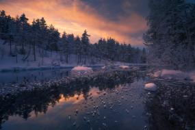 природа, реки, озера, ole, henrik, skjelstad, норвегия, зима, река, лес, ringerike