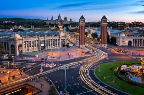 дорога, Испания, башни, архитектура, Барселона
