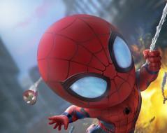 Тони Старк, Tony Stark, Летят, Comics, Супергерои, Костюм, Marvel, Взрыв, Costume, Железный человек, Iron Man, Человек-паук, Паутина, Spider-man