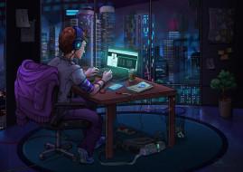 хакер, помещение, компьютер, The World at Night