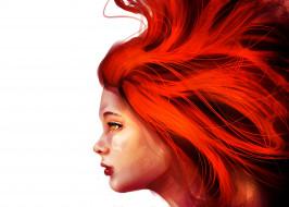 девушка, рыжие волосы, белый фон