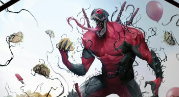 Costume, Deadpool, Язык, Комиксы, Teeth, Симбиот, Balls, Шары, Шарики, Comics, Tongue, Food, Костюм, Веном, Марвел