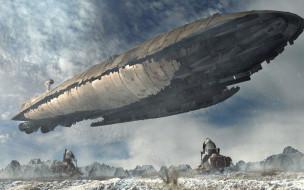 Interception, летательный аппарат, горы, SW Universe, небо
