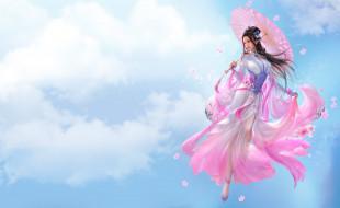 фэнтези, девушки, арт, fantasy, облака, девушка, игра, зонтик