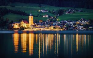 St Wolfgang, природа, река, дома, Австрия, берег, поля, деревья, вечер, огни