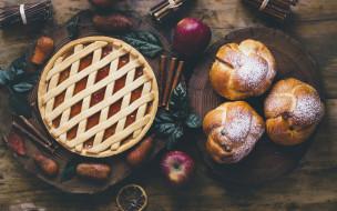корица, пирог, яблоки, apples, выпечка