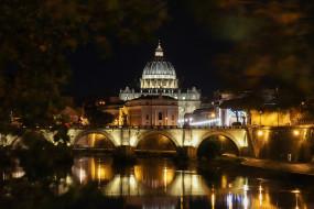 ночь, мост, огни