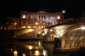 мост, ночь, огни