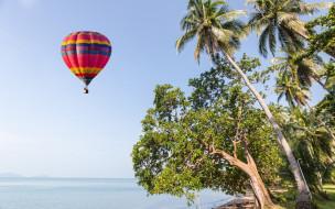 авиация, воздушные шары, пальмы, paradise, берег, небо, beautiful, beach, palms, песок, воздушный, шар, лето, пляж, sea, море, sand, волны, summer, tropical, air, balloon, seascape