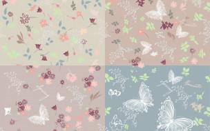 бабочки, butterflies, текстура, background, pattern, цветы, вектор, фон