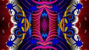 3д графика, фракталы , fractal, цвета, узор, фон