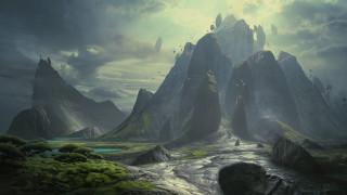 3д графика, природа , nature, горы, скалы, растительность