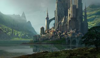 поселение, замок, водоём, горы, Raphael Lacoste, KvasIr Fortress