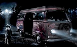 человек, Romantically Apocalyptic, маска, граффити, автобус
