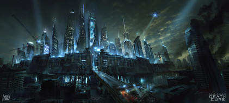 Death Cure, арт, город, Бегущий в лабиринте, стена, небоскребы, фантастика, Лекарство от смерти, дорога, Maze Runner, река, ночь