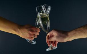 разное, руки, тост, шампанское, фужеры, праздник