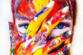 лицо, рука, девушка, краски, взгляд, глаза