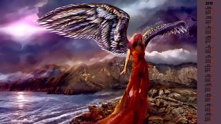 женщина, камни, крылья, водоем