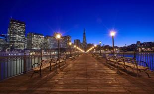 фонари, США, скамейки, мост, ночь, Сан-Франциско, огни