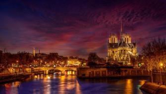 Франция, ночь, Париж, город, Notre Dame