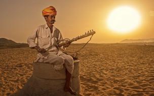 песок, тюрбан, мужчина, инструмент