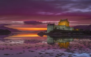 замок, закат, Ирландия, мост