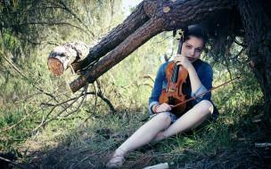 взгляд, девушка, скрипка