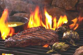 огонь, артишок, барбекю, пламя, мясо, решетка