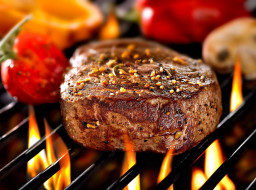 пламя, барбекю, мясо, огонь, решетка
