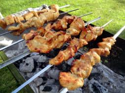 шампуры, мясо, шашлык, угли
