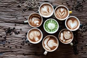 ассорти, зерна, кофе, капучино