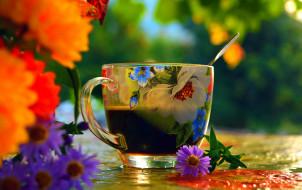 цветы, чашка, кофе