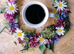 венок, чашка, кофе
