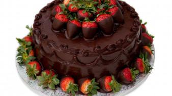шоколадный, торт, клубника