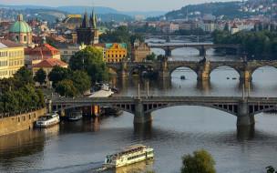 река, панорама, мосты, влтава