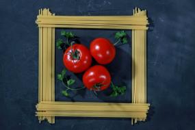 натюрморт, еда, макароны, спагетти, помидоры, томаты
