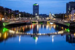 река, вечер, огни, мост